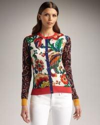 Tory Burch | Multicolor Gabbi Mixed-print Cardigan | Lyst