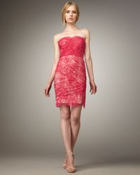 Tracy Reese | Red Strapless Lace Dress | Lyst