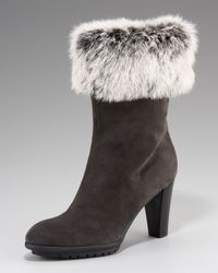 Aquatalia | Brown Suede and Fur Ankle Boots  | Lyst