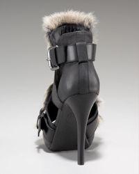 Ash - Black Exclusive Rabbit Fur Sandal - Lyst