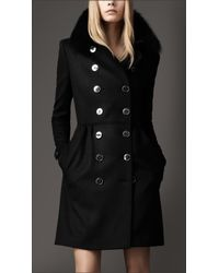 Burberry | Black Fur Collar Trench Coat | Lyst