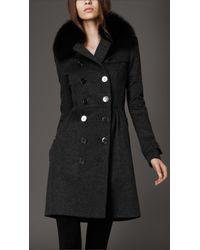 Burberry - Gray Fur Collar Trench Coat - Lyst