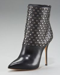 Casadei | Black Studded Ankle Boot | Lyst
