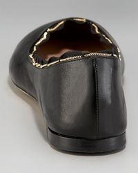 Chloé - Black Scalloped Ballerina Flat - Lyst