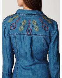 Free People - Blue Linen Chambray Shirtdress - Lyst