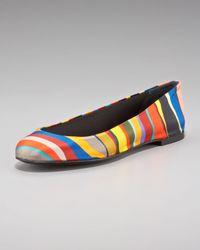 Giuseppe Zanotti | Multicolor Satin-stripe Ballet Flat | Lyst