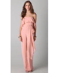 Halston | Pink Strapless Jumpsuit | Lyst