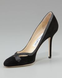 Jimmy Choo | Black Glitter-trim Suede Pump | Lyst