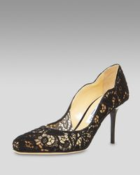 Jimmy Choo | Black Scalloped Lace Pump | Lyst