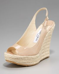 Jimmy Choo - Natural Patent Espadrille Pump - Lyst