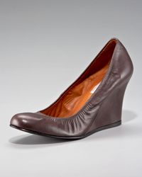 Lanvin | Brown Ballerina Wedge Pump | Lyst