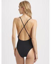 Mara Hoffman | Black One-Piece Twist-Front Swimsuit | Lyst