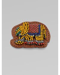 Vionnet - Natural Embellished Elephant Leather Pin - Lyst