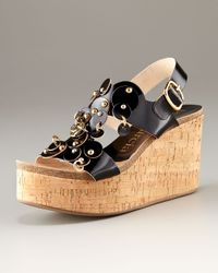 Pedro Garcia | Black Diane Circle-detail Patent Wedge | Lyst