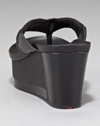 Prada - Black Exclusive Nylon And Patent Thong Wedge - Lyst