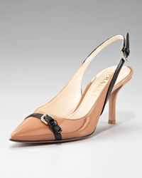 Prada | Natural Point-toe Slingback Pump | Lyst