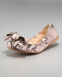 Prada - Gray Stamped Python Ballet Flat with Bow - Lyst