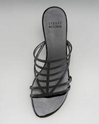 Stuart Weitzman - Black Kitten-heel Strappy Slide - Lyst