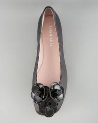 Taryn Rose | Natural Patent Leather Rosette Ballerina Flat | Lyst