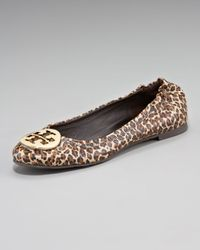Tory Burch | Brown Reva Mini-leopard Printed Ballerina | Lyst