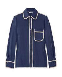 Tucker | Blue Pajama-style Silk Shirt | Lyst