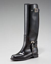 Valentino - Black Rockstud Rain Boot - Lyst