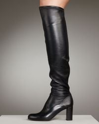Valentino | Black Stretch Leather Over-the-knee Boot | Lyst
