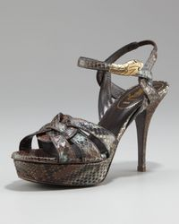 Saint Laurent | Brown Tribute Python Snake-ornament Sandal, 4 Heel | Lyst