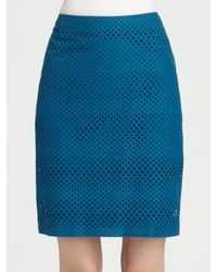 Akris Punto | Blue Cotton Pencil Skirt | Lyst