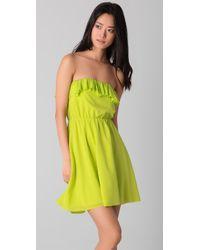 Alice + Olivia | Green Ashton Ruffled Stretch Silk-crepe Dress | Lyst