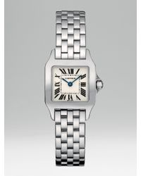 Cartier | Metallic Santos Demoiselle Stainless Steel Watch On Bracelet, Small | Lyst