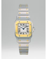 Cartier   Metallic Santos Galbee Stainless Steel and 18k Yellow Gold Watch On Bracelet, Small   Lyst