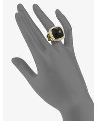David Yurman - Metallic Black Onyx Diamond 18k Yellow Gold Ring - Lyst