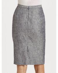 Dior - Gray Silk Tweed Pencil Skirt - Lyst