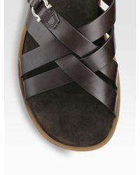 Ferragamo | Black Damiano Strappy Sandal for Men | Lyst