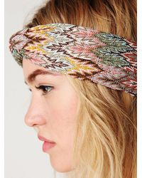 Free People - Gray Zig Zag Turban Headband - Lyst