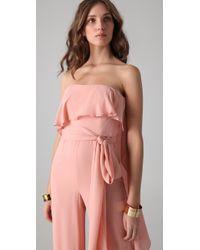 Halston - Pink Strapless Jumpsuit - Lyst