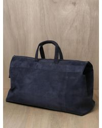 Isaac Reina | Blue Mens Nubuck Calfskin Leather Weekend Bag for Men | Lyst