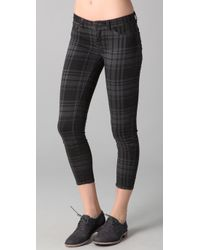 J Brand | Gray Cropped Plaid Skinny Pants | Lyst