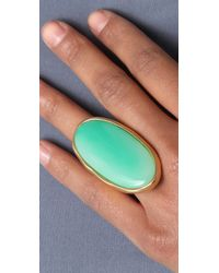 Kenneth Jay Lane - Green Satin Gold & Jade Oval Ring - Lyst