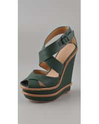L.A.M.B. | Blue Angela Double Wedge Sandals | Lyst