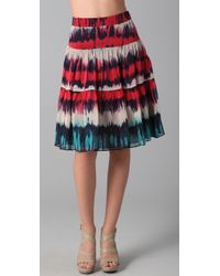 MILLY | Multicolor Ali Gathered Tie Dye Skirt | Lyst