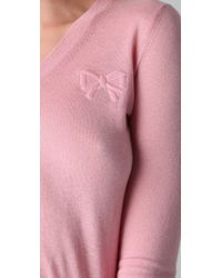 RED Valentino - Pink V Neck Cashmere Sweater with Bow - Lyst