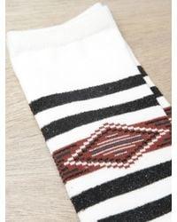 Sasquatchfabrix - Brown Mens Striped Geometric Socks for Men - Lyst