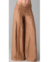 Theyskens' Theory | Natural Pluto Wide Leg Linen Blend Pants | Lyst