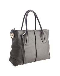 Tod's | Gray Shadow Leather D-styling Manici New Grand Tote | Lyst