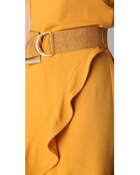 Viktor & Rolf - Yellow Belted Dress with Ruffled Hem - Lyst