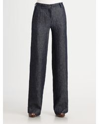 Armani | Blue Linen Pants | Lyst