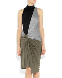 Alexander Wang | Black Knotted Draped-jersey Dress | Lyst