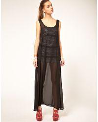 American Apparel | Black Sheer Maxi Dress | Lyst